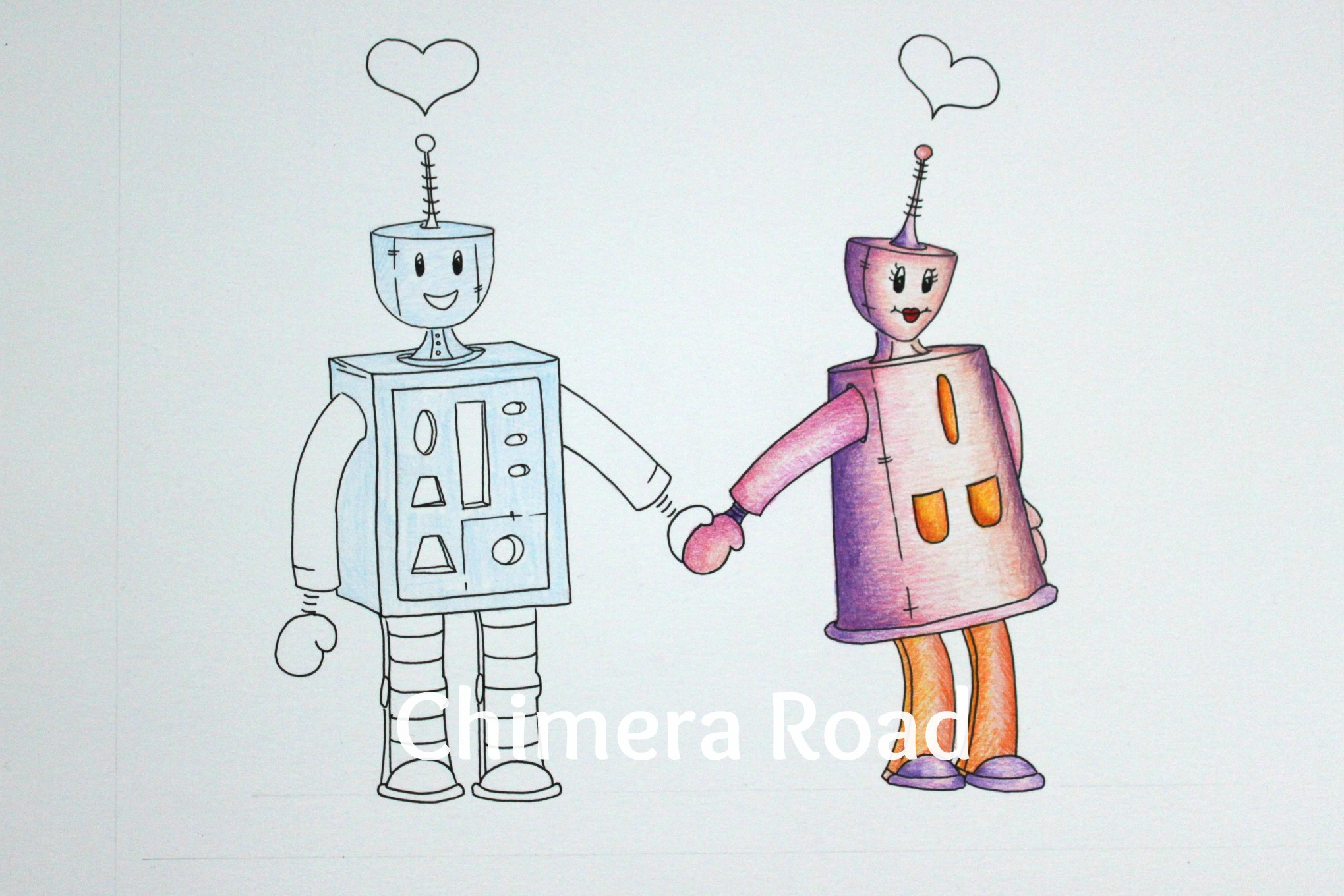 WIP Robots in Love| Dakota Midnyght Art (dakotamidnyght.com)