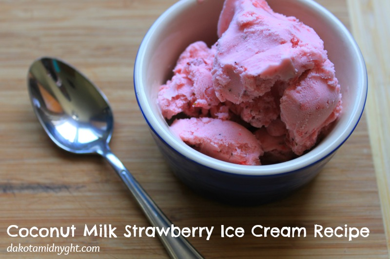 Coconut Milk Strawberry Ice Cream - an easy 3 ingredient, gluten and dairy free recipe for ice cream. | DakotaMidnyght.com
