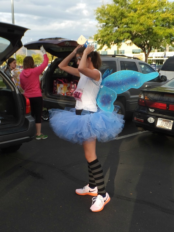 I have, however, broken out in wings. This is the get up for my recent all women 5k.