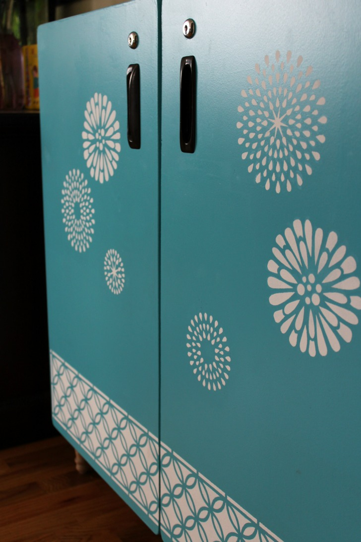 Stenciled Cupboard Storage -