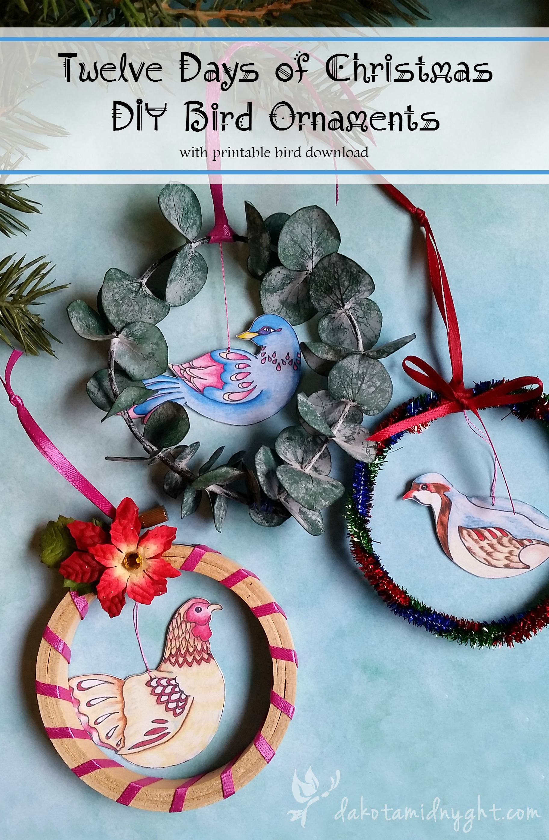 Free printable download for Twelve Days of Christmas DIY Bird Ornaments | dakotamidnyght.com